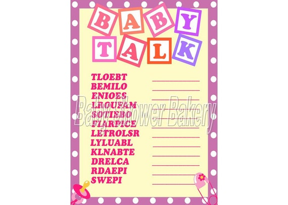 Baby Shower Game, Baby Word Scramble, Printable Baby Shower Game, Girl ...