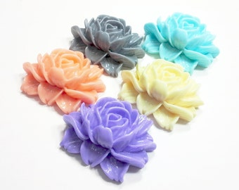 1 PCS Resin Rose Cabochons 34x45mm -- You Choose Color