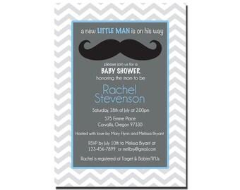 Baby Boy Shower Invitation, Chevron, Mustache, Little Man Invite, Digital File,  PRINTABLE _1187
