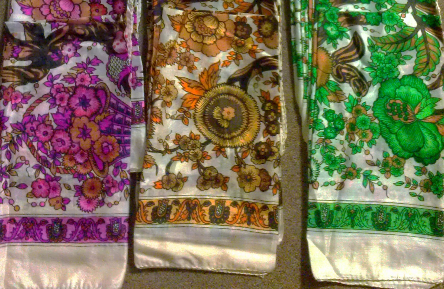 Vintage print silk scarf choose from Pink Brown or Green colours NEW Vintage Silk Scarves Australia
