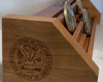 Natural Cherry  & Oak ARMY Challenge Coin Display Holder Holds 15-21 Coins