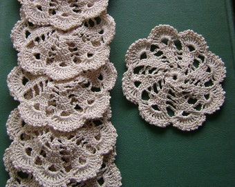 Set of 6 round ecru doilies coaster crochet