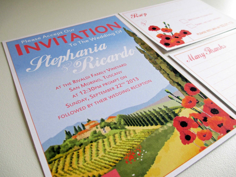 Tuscan Themed Wedding Invitations: Destination Italian Tuscan Vineyard Wedding Invitation