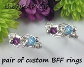 Wrapped Jewelry Wrapped Ring Handmade Gift for Best Friend Ring BFFs Double Birthstone Ring Birthstone Jewelry Wire Ring ITEM0307