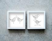Birds prints, two pen prints, black and white art poster, print illustrations, motif drawings