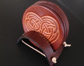 Celtic Heart Bordeaux Leather Coaster Set