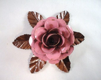 Large Size Decorative Metal Hand Cut and Hand Painted Rustic Pink Rose Mounted on a Bed of Metal Leaves.
