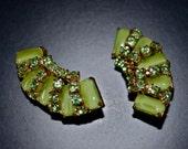 Vintage 1940s style Clip on Earrings Lime Green Rhinestones