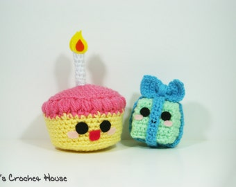 Birthday Cake and Present Kawaii Kollection Amigurumi Plush Crochet Toys (Made to Order- Custom Colors)