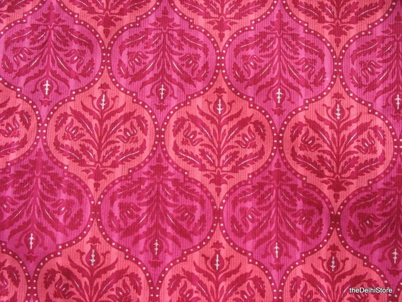 Indian Block Print Cotton Fabric In Pink Sold By Yard