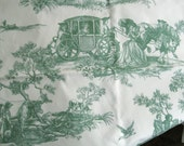 Toile Green and White Fabric Remnant Toile de Savile 18th c Pastoral Scenes 2/3plus yd Teflon Coated/ Outdoor Pillows