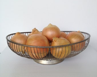 Vintage Silver Plated Oval Wire Basket