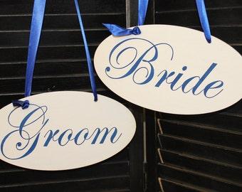 BRIDE - GROOM  Chair Signs Oval/Photo Prop/U Choose Colors/Great Shower Gift/Cobalt/Royal Blue