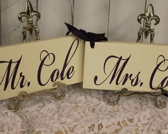 BRIDE - GROOM Chair Signs/Personalized/Photo Prop/U Choose Colors/Great Shower Gift/Ivory/Eggplant/Plum