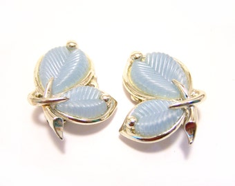 Vintage Marboux Silver Tone Sky Blue Leaf Clip On Earrings / Gift for Her / L302