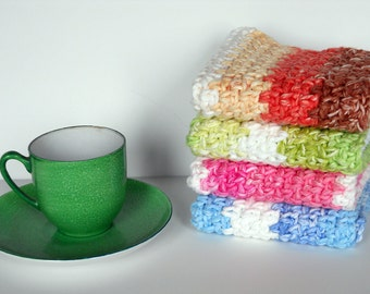 Crocheted Striped Washcloths, Dishcloths, 100% Cotton, Set of 4, One Each in Blue, Pink, Green and Orange,  Housewarming Gift, Shower Gift