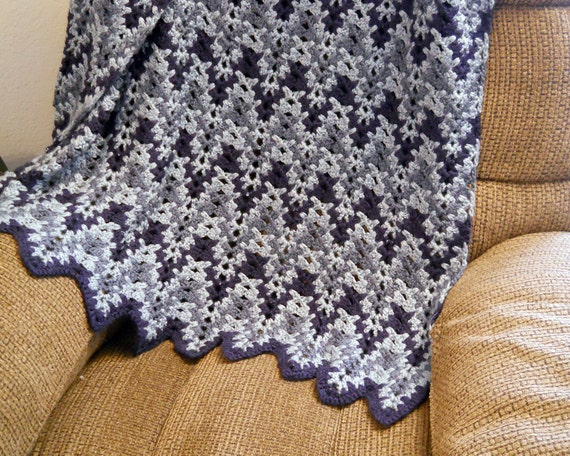 Crochet Wedding Gift: Country Blue Crocheted Ripple Blanket Afghan Throw Wedding