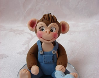 Personalized Monkey Birthday Cake Topper, Childrens Polymer Clay Christmas Ornament, Figurine.  A  Handcrafted Art Sculpture.