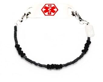 Medical I.D. Bracelet Interchangeable Men's Black and Charcoal Medical Bracelet
