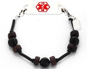 Medical I.D. Bracelet Interchangeable Men's Black Skatepark Medical Bracelet