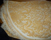 """Gold and Cream large vintage brocade retro bedspread 120"""" by 104"""" cream thread fringe and rounded corners"""