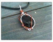 Black beach glass necklace