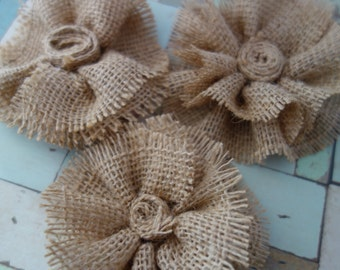 Set of three Burlap Flower