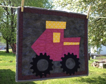 Quilted Pink Tractor  Table Topper