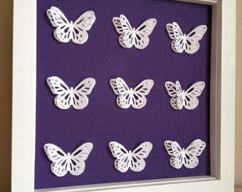 White Butterfly Purple Paper, 3D Paper Art - perfect for a new baby or little girl's room - customize with your colors