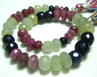 """AA-Multi Sapphire Faceted Big Rondelles- 8.5"""" Strand -Stones measure- 5-8mm"""