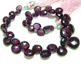 "Organic Rhodolite Garnet Faceted Heart Briolette- 7"" Strand -Stones measure- 6-8mm"