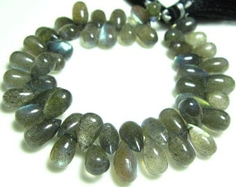 "AAA-Labradorite Smooth Tear Drops- 7"" Strand -Stones measure- 10x5-12x6mm"