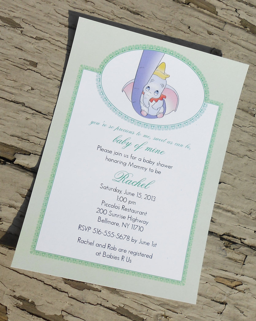 disney 39 s dumbo baby shower invitation custom printable