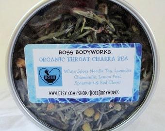 Organic THROAT CHAKRA TEA - lavender, chamomile, spearmint, lemon peel, red clover blossoms, white silver needle tea- non gmo