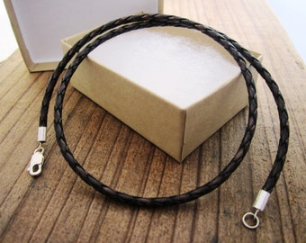 Mens Leather Bolo Necklace - Braided Bolo Cord - Pure Sterling Silver Clasp/Catch - Brown