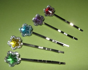 SALE 5 Sparkly Flower Bobby Pins