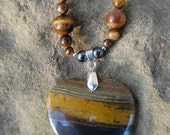 Tiger's Eye and Pyrite Heart Pendant Necklace