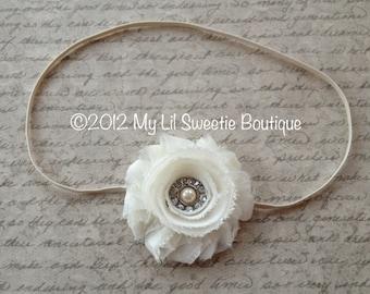 Ivory Flower Headband- infant headband- newborn headband- baby headband-  flower girl headband- baptism headband