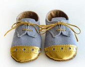 Baby Toddler Boy or Girl Shoes - Gray grey Canvas with Brogued Gold Leather Soft Sole Shoes Oxford Wingtips Wing tips