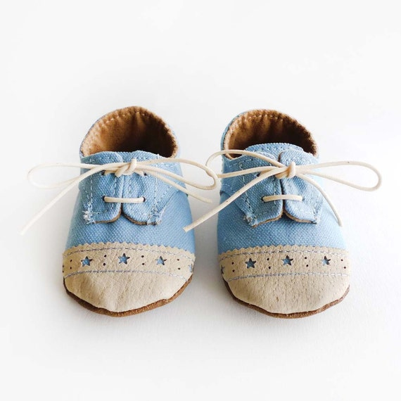Baby Boy Shoes Baby Blue Canvas with Brogued Beige Leather Soft Sole Shoes Oxford Wingtips Wing tips