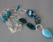 Glass weather neclace with afgan glass and turquoise and chalcedony very long sterling silver - ArtMeGloria