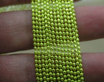 16Feet,Neon Lemon Yellow 1.5mm Octahedral Beaded Faceted Ball Chains,8 Facets Copper Ball Chain For Scrabble Tiles, Dog Tag,Glass Pendant