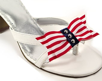 Red and White Striped Shoe Clips, Nautical Shoe Clips, Shoe Accessories, Studded Shoe Clips, Memorial Day
