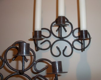 Set of Two Hand Forged Iron Candle Sconces