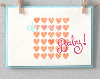 Hand stamped greeting card - Oh Baby