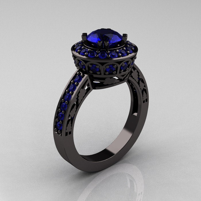 14K Black Gold 1 0 Carat Blue Sapphire Wedding Ring