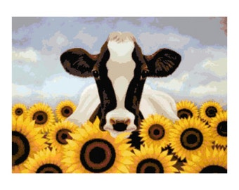 Cow and Sunflowers PDF Cross-Stitch Pattern