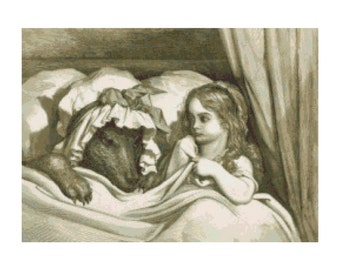 Vintage Red Riding Hood in Bed w. Big Bad Wolf Cross-Stitch Pattern