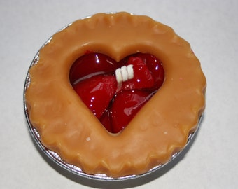 Heart Fruit Pie Candles-  3 inch - Apple, Blueberry, Cherry, Strawberry, Peach, Pumpkin, Maple Pecan, Lemon Merangue