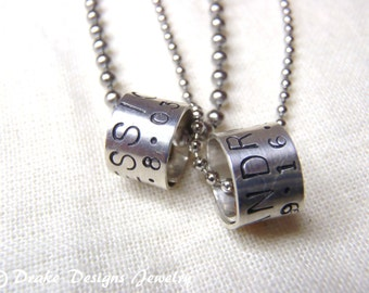 Matching Couple Jewelry Personalized couple Necklace Set Sterling custom message